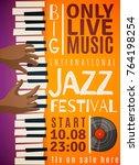 jazz festival vertical poster... | Shutterstock .eps vector #764198254