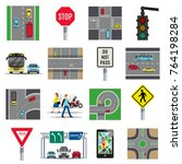 traffic light signs and... | Shutterstock .eps vector #764198284