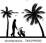 father walking with his baby on ...   Shutterstock .eps vector #764199430