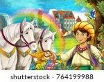 cartoon scene with beautiful... | Shutterstock . vector #764199988