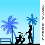 mother walking with her baby on ...   Shutterstock .eps vector #764200000