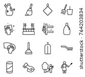 thin line icon set   cleanser ... | Shutterstock .eps vector #764203834