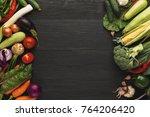 border of fresh organic... | Shutterstock . vector #764206420