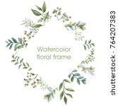 floral wreath. botanical... | Shutterstock . vector #764207383