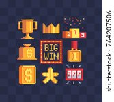 pixel art icons set. big win ... | Shutterstock .eps vector #764207506