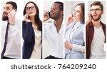 set of diverse people using... | Shutterstock . vector #764209240