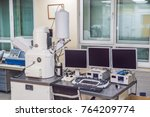 Scanning electron microscope microscope in a physical lab