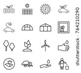 thin line icon set   bio  sun... | Shutterstock .eps vector #764210290
