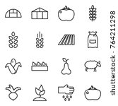 thin line icon set   greenhouse ... | Shutterstock .eps vector #764211298