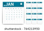2018 calendar in paper stickers ... | Shutterstock .eps vector #764213950