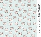 hand drawn cat cute faces... | Shutterstock .eps vector #764214400