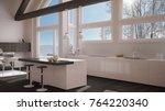 modern kitchen in classic villa ... | Shutterstock . vector #764220340