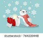 little cute polar bear with a... | Shutterstock .eps vector #764220448