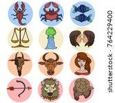 horoscope vector symbols... | Shutterstock .eps vector #764229400