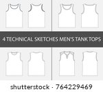 4 fashion technical sketches of ... | Shutterstock .eps vector #764229469