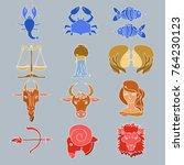 horoscope vector signs isolated ... | Shutterstock .eps vector #764230123