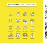 sustainability line icons set | Shutterstock .eps vector #764231644