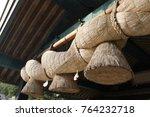 Stock photo shimenawa sacred straw rope at grand shinto shrine izumo taisha izumo japan 764232718