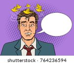 birds fly over the head of a... | Shutterstock .eps vector #764236594