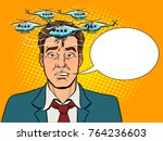 helicopters fly over the head... | Shutterstock .eps vector #764236603