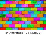 Old Colourful Brick Wall ...