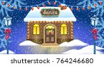 christmas card with brick house ... | Shutterstock .eps vector #764246680