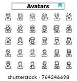 avatar outline icon set. | Shutterstock .eps vector #764246698