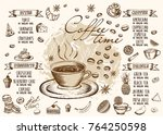 menu for restaurant and cafe.   Shutterstock .eps vector #764250598