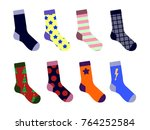 colorful socks set. with... | Shutterstock . vector #764252584