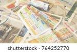 newspapers. bunch of old... | Shutterstock . vector #764252770