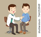 doctor listening to chest of... | Shutterstock .eps vector #764253949