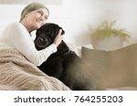 woman sick with tumor hugging... | Shutterstock . vector #764255203