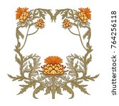 frame in art nouveau style with ... | Shutterstock .eps vector #764256118