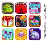 cartoon app icons for game or... | Shutterstock .eps vector #764258719