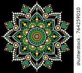 mandala vector dot art ... | Shutterstock .eps vector #764259010