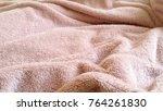a pink  fluffy blanket... | Shutterstock . vector #764261830