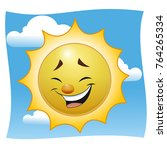 a laughing cartoon sun. against ... | Shutterstock .eps vector #764265334