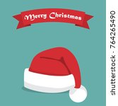santa hat with shadow and... | Shutterstock .eps vector #764265490