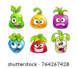 cute comic colorful fruit... | Shutterstock .eps vector #764267428