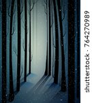 deep fairy frosty winter forest ... | Shutterstock .eps vector #764270989