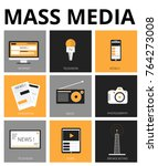 mass media flat icons. tv ... | Shutterstock .eps vector #764273008