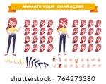 vector girl consructor. set of... | Shutterstock .eps vector #764273380