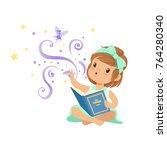 excited toddler girl sitting...   Shutterstock .eps vector #764280340