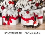 gifts in white and red colors... | Shutterstock . vector #764281153
