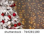 closeup christmas tree with...   Shutterstock . vector #764281180