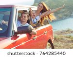 the family travels by car | Shutterstock . vector #764285440
