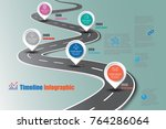 business road map timeline... | Shutterstock .eps vector #764286064