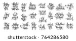 set of 25 hand lettering...   Shutterstock . vector #764286580