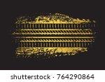 dirty grunge tire track.vector... | Shutterstock .eps vector #764290864