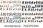 isolated silhouettes of... | Shutterstock .eps vector #764291344